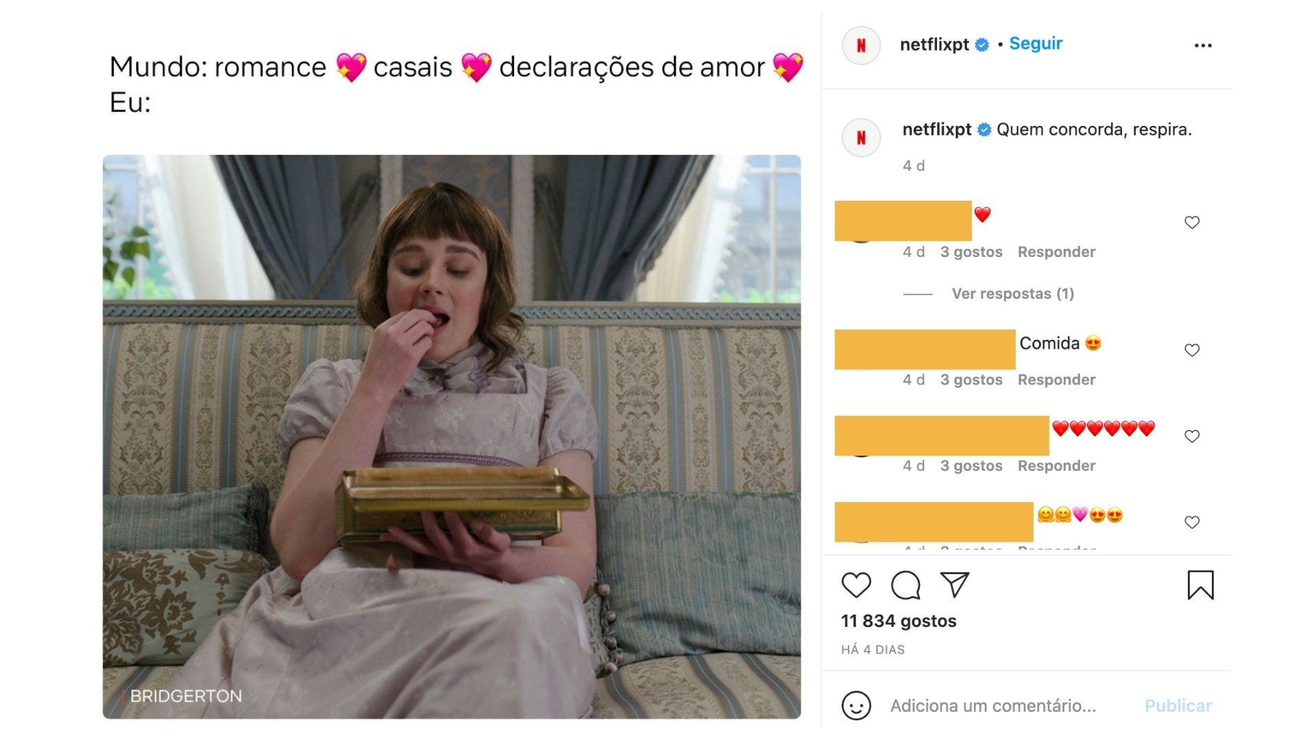 Publicação do instagram da netflix