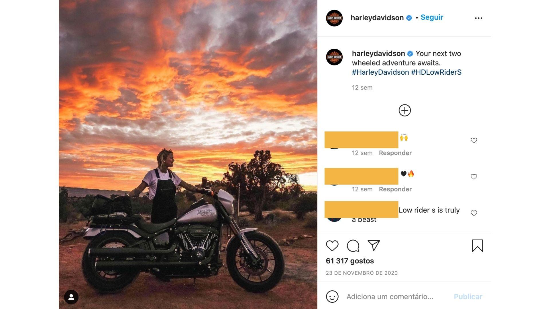 Publicação do instagram da harley davidson